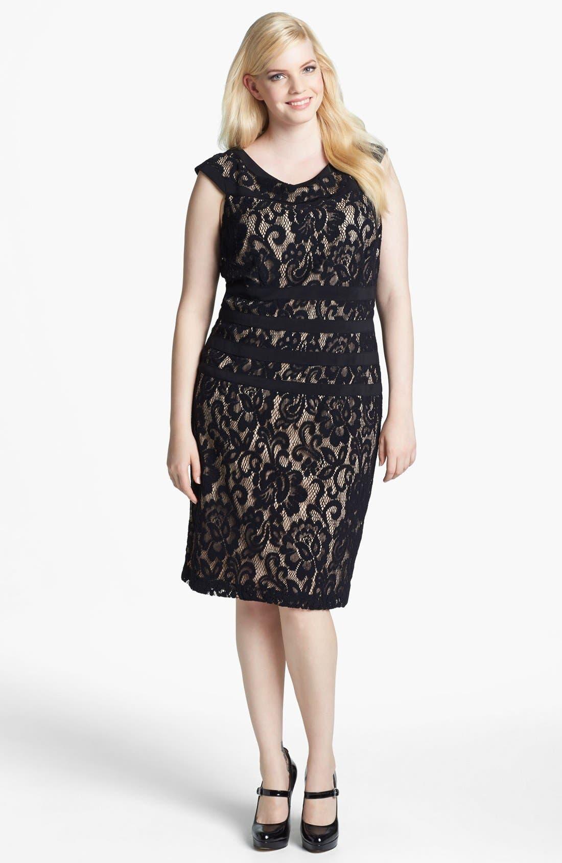 Alternate Image 1 Selected - Xscape Lace Sheath Dress (Plus Size)