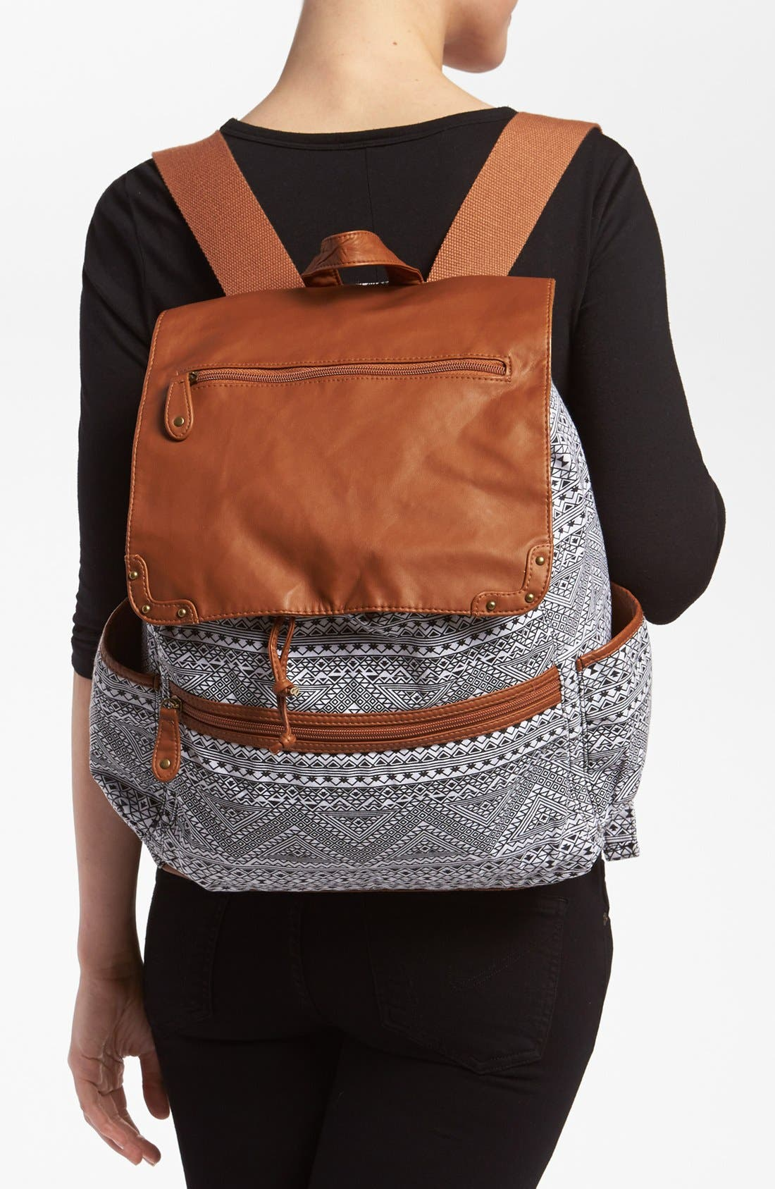 Alternate Image 2  - Lulu Faux Leather Flap Print Backpack (Juniors)