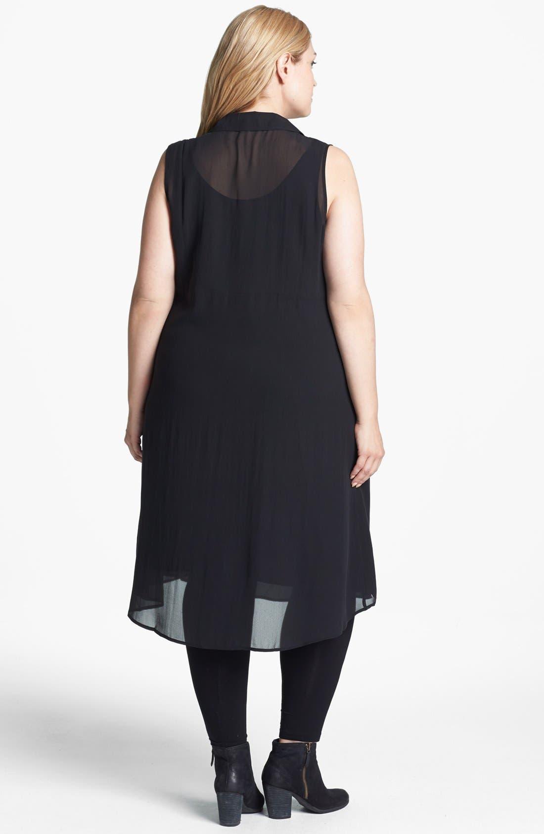 Alternate Image 2  - Eileen Fisher Classic Collar Silk Shirtdress (Plus Size)