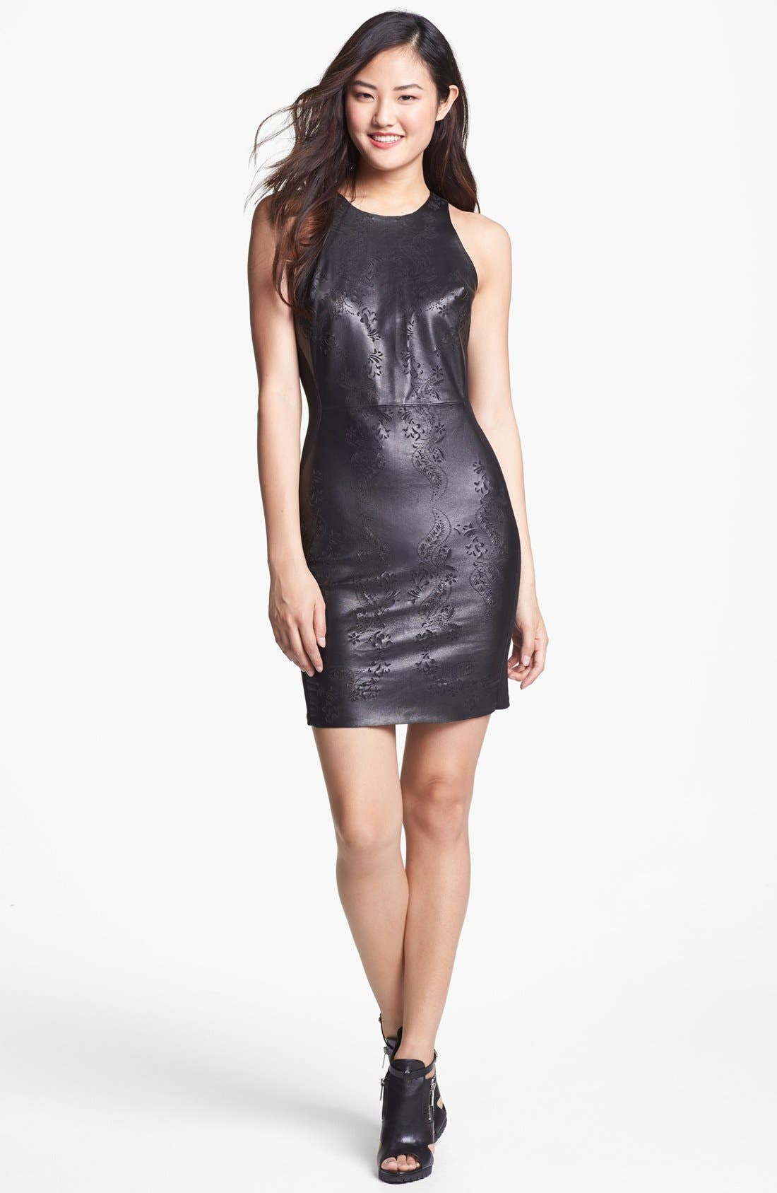 Alternate Image 1 Selected - Dolce Vita Laser Cut Leather Sheath Dress