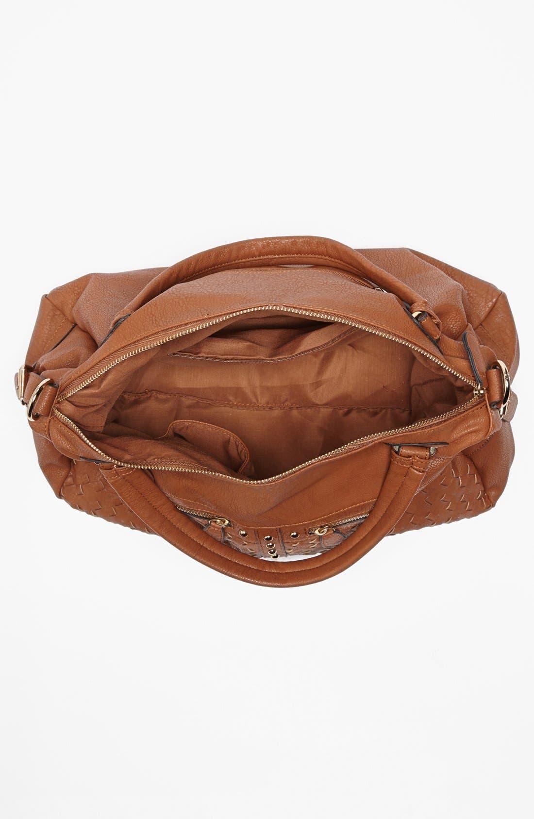 Alternate Image 3  - NB Handbags Weave Detail Faux Leather Satchel (Juniors)