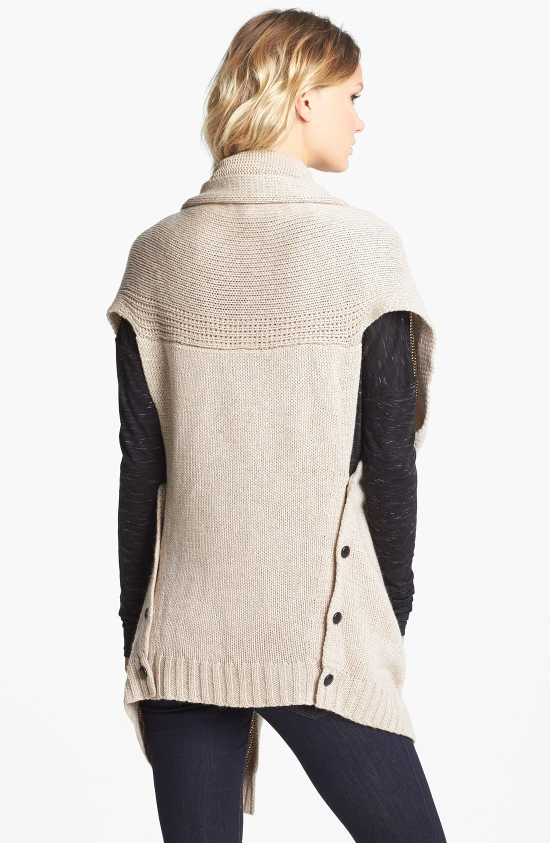 Alternate Image 2  - Nordstrom Knit Vest With Faux Leather Pockets