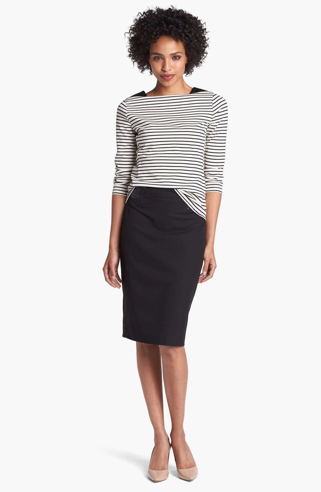 Main Image - Halogen® Faux Leather Waist Pencil Skirt