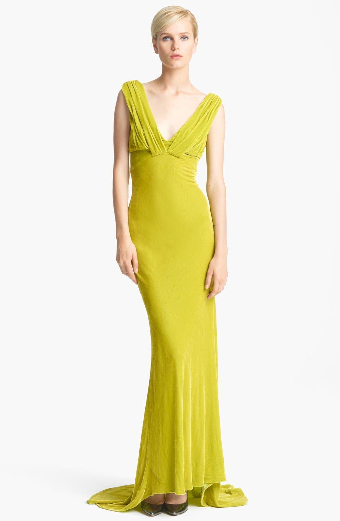 Alternate Image 1 Selected - Oscar de la Renta Draped Velvet Gown