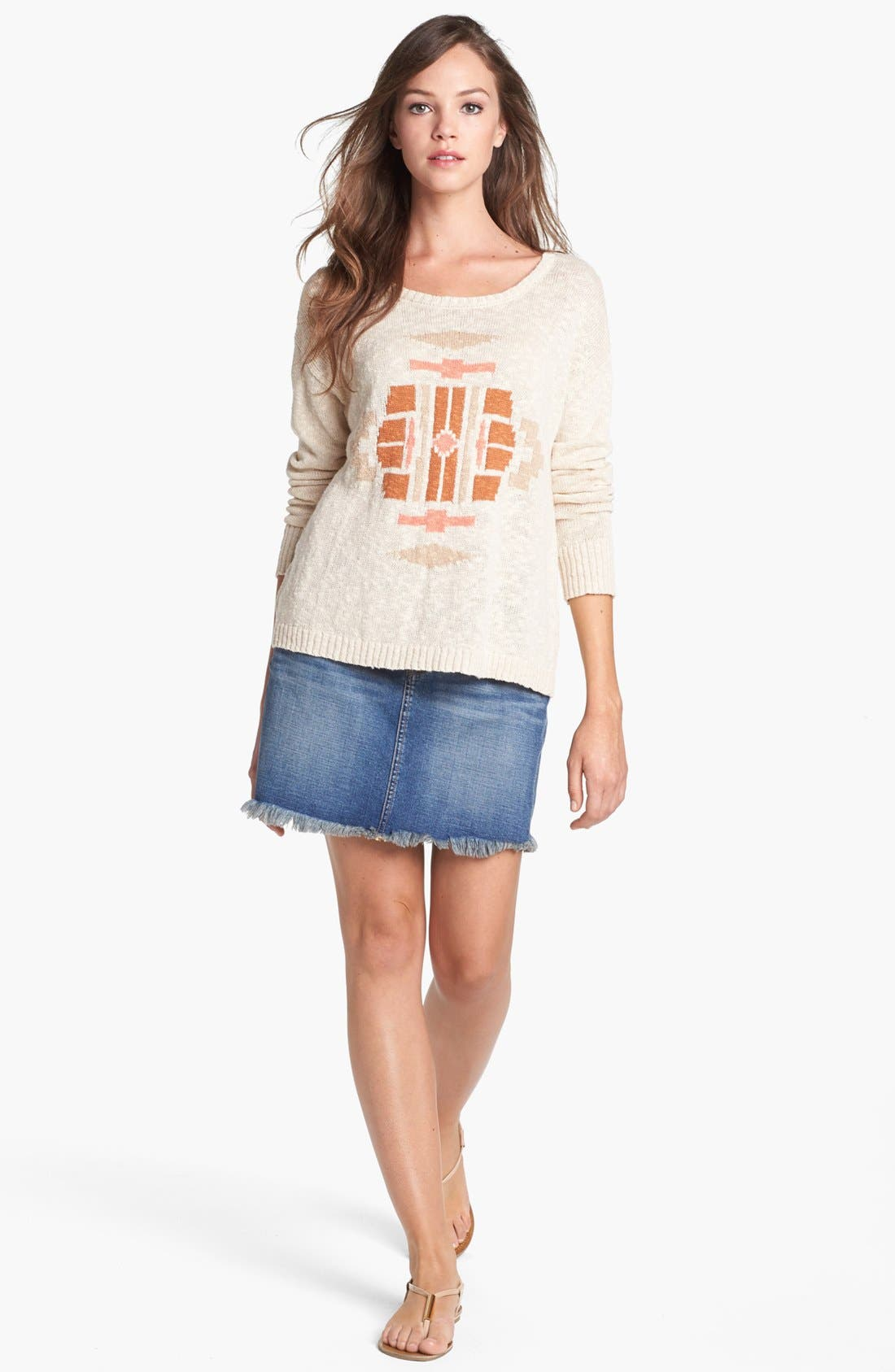 Alternate Image 1 Selected - Lucky Brand Sweater & Denim Skirt