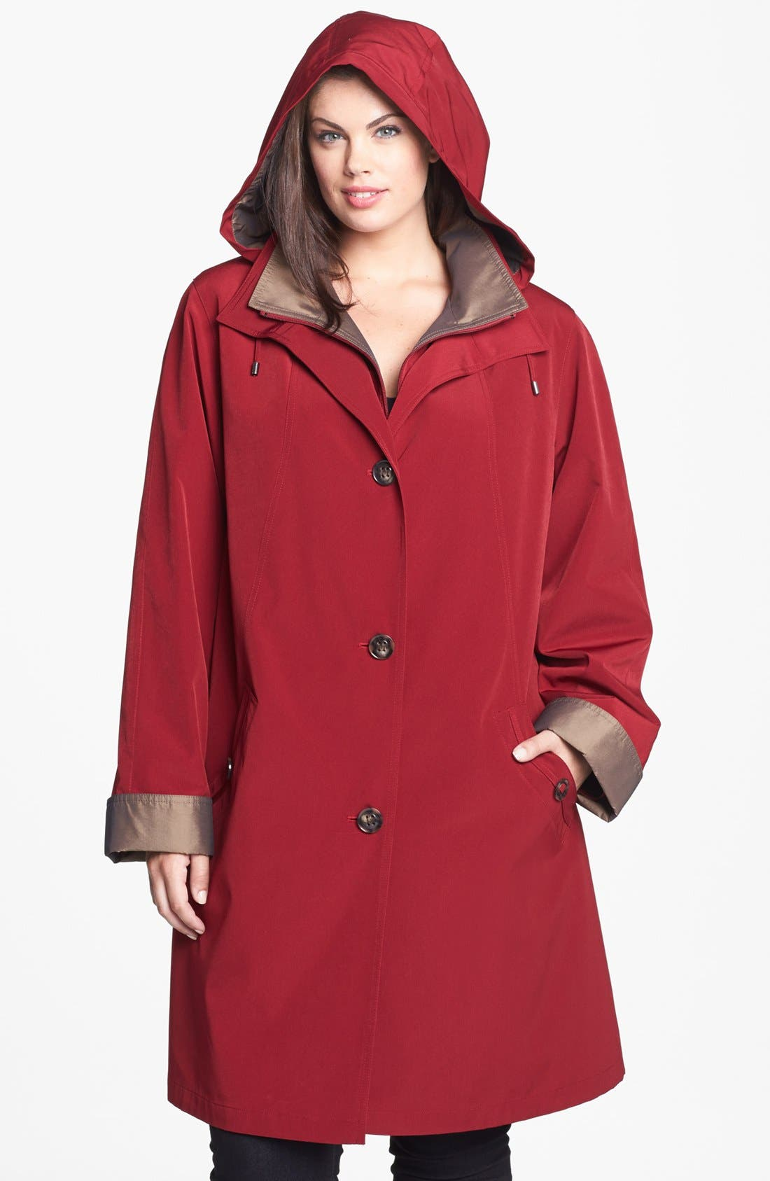 Alternate Image 4  - Gallery A-Line Coat with Detachable Hood & Liner (Plus Size)