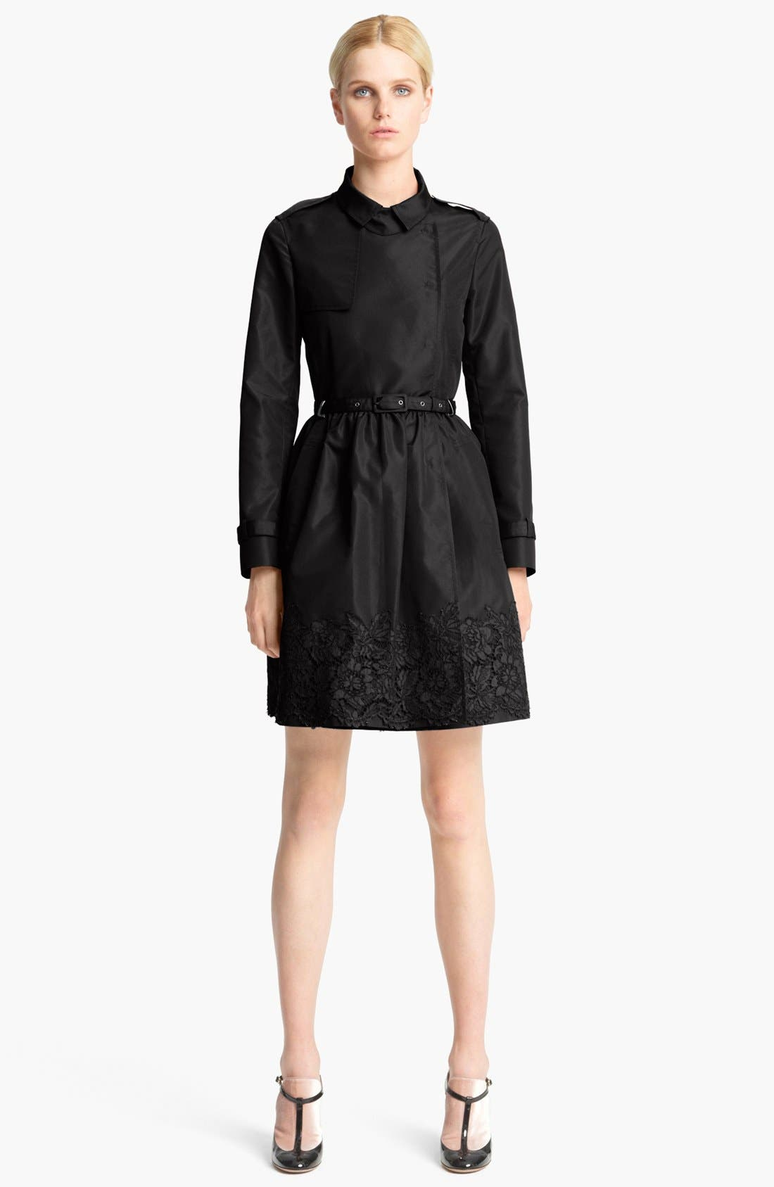 Main Image - Valentino Lace Hem Faille Trench Coat