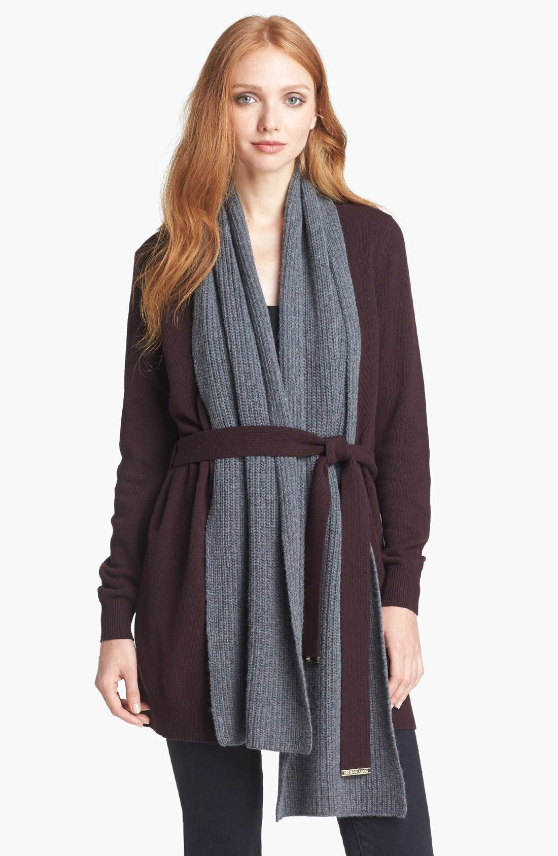 Alternate Image 1 Selected - Tory Burch 'Gwen' Cardigan with Scarf