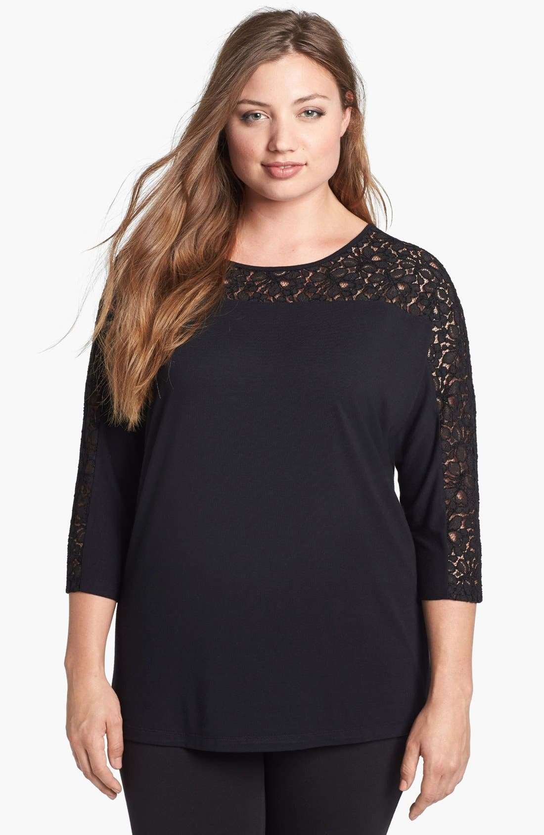 Alternate Image 1 Selected - Sejour Lace Yoke Jersey Top (Plus Size)