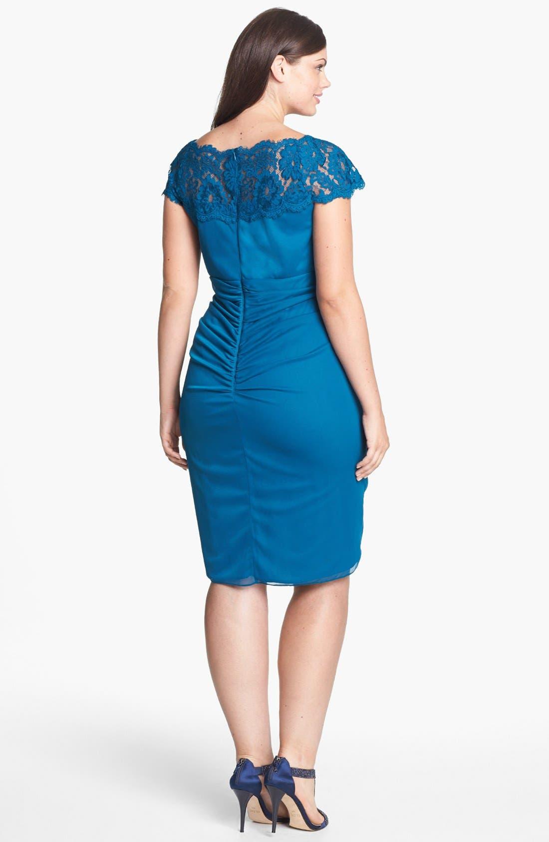 Alternate Image 2  - Xscape Lace Yoke Ruched Mesh Sheath Dress (Plus Size)