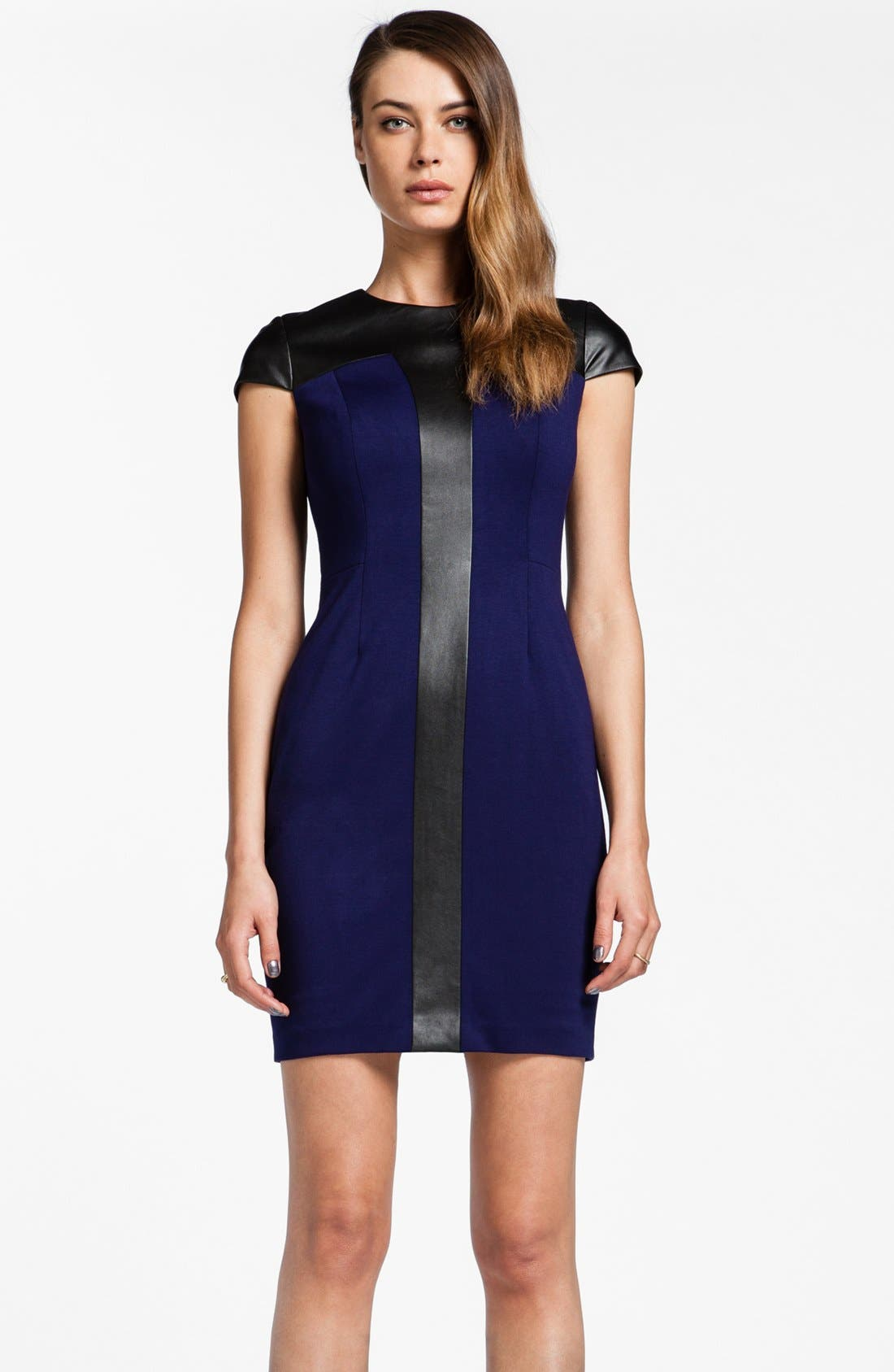 Main Image - Cynthia Steffe 'Pandora' Faux Leather Trim Sheath Dress