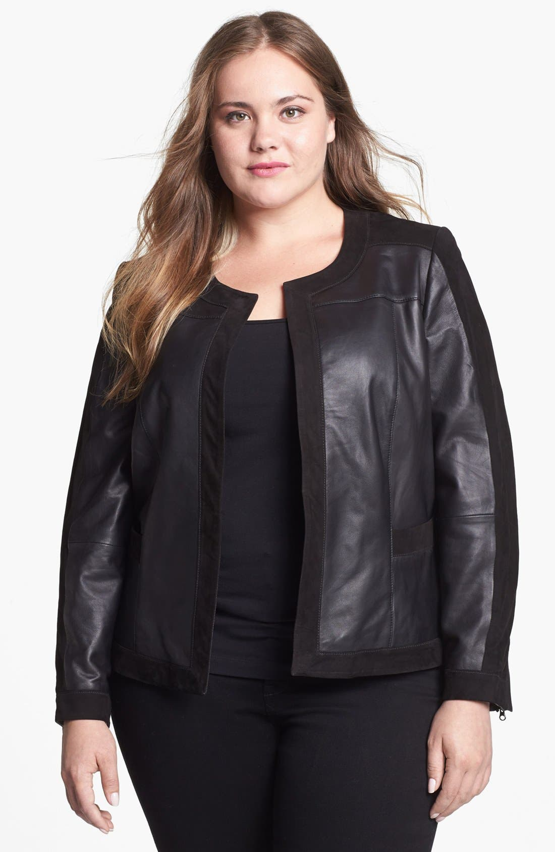 Main Image - Halogen® Suede Trim Leather Jacket (Plus Size)