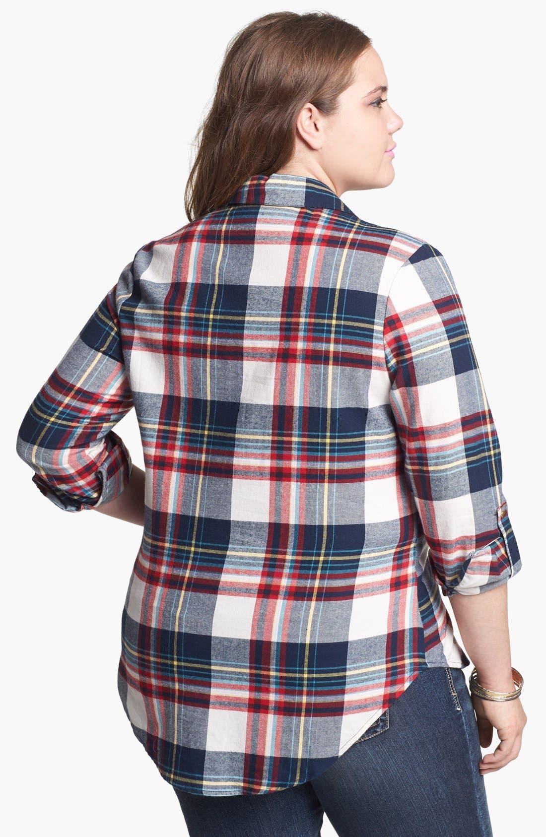 Alternate Image 2  - Pretty Rebel Studded Plaid Shirt (Juniors Plus)