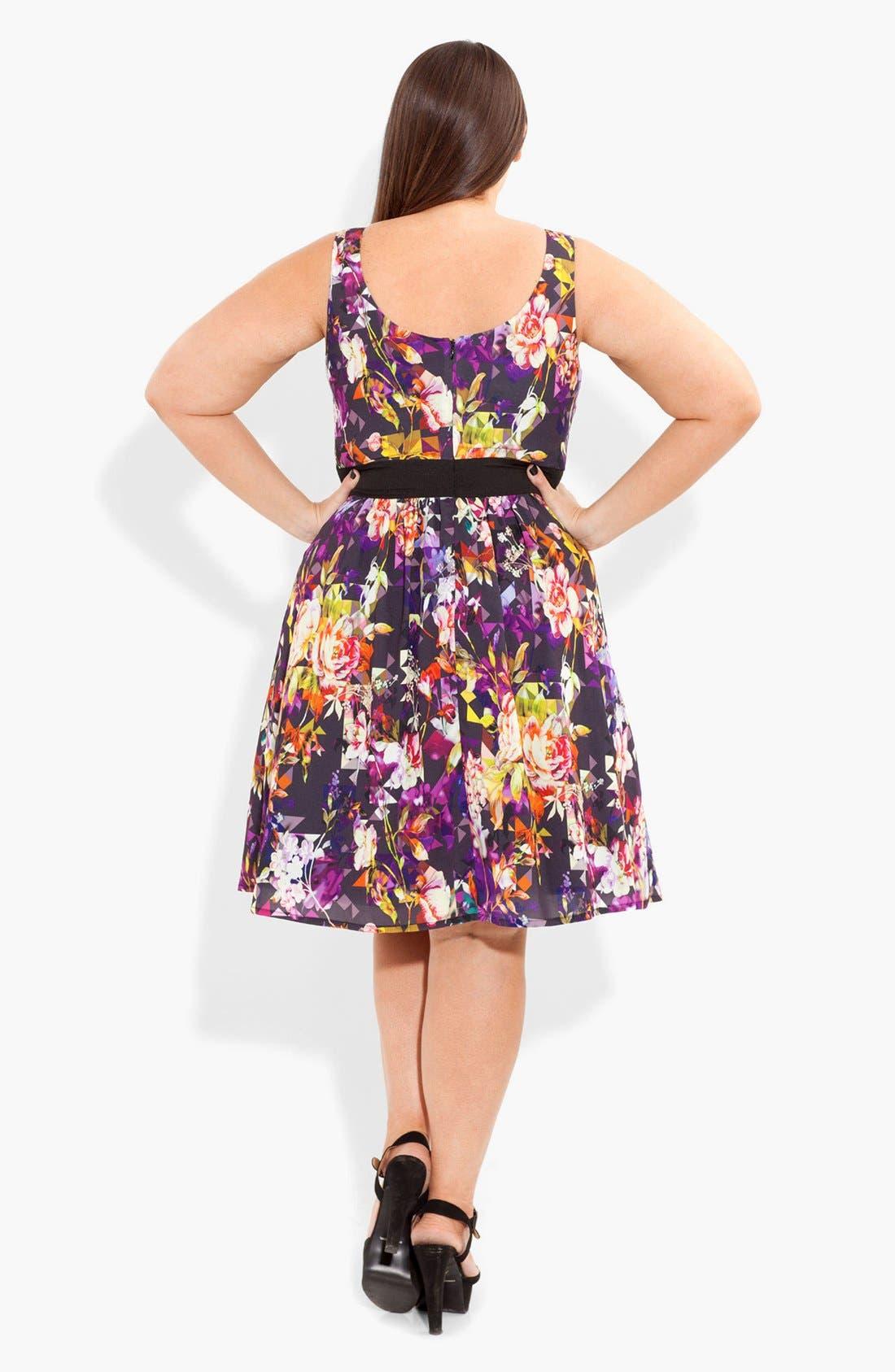Alternate Image 2  - City Chic Print Fit & Flare Dress (Plus Size)