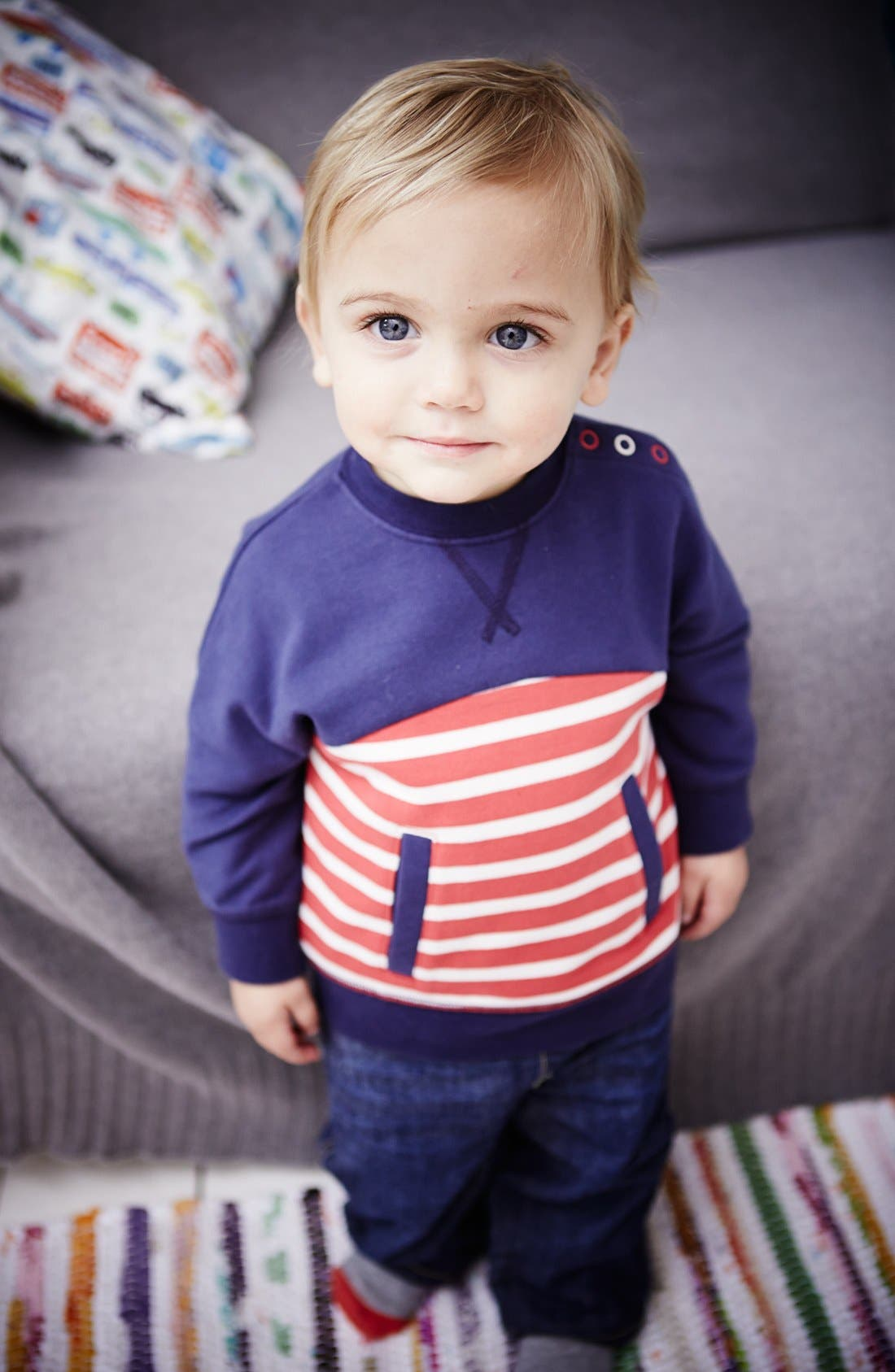 Alternate Image 2  - Mini Boden 'Hotchpotch' Pullover (Baby Boys)