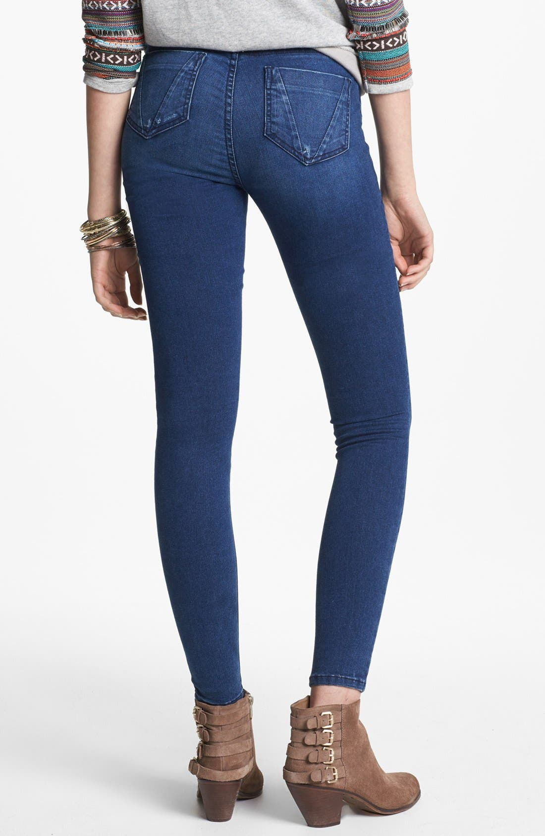 Alternate Image 2  - STS Blue High Waist Skinny Jeans (Arctic Blue) (Juniors)
