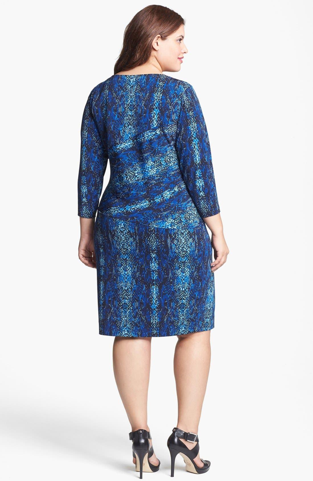 Alternate Image 2  - Calvin Klein Print Side Tie Sheath Dress (Plus Size)