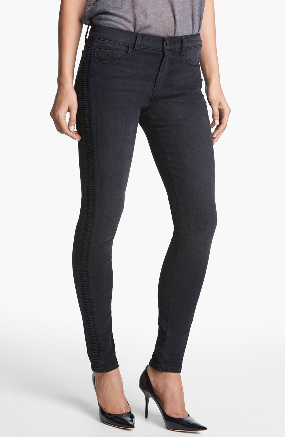 Alternate Image 1 Selected - J Brand '8072 The Liberty' Side Pleat Skinny Jeans (Graphite)