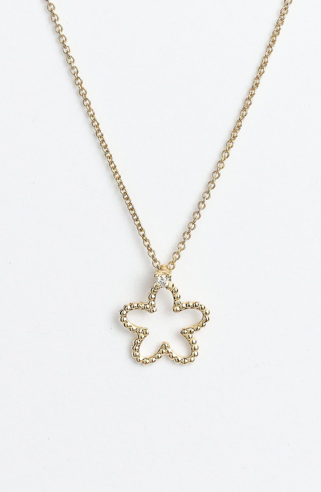 Alternate Image 1 Selected - Roberto Coin 'Tiny Treasures' Diamond Flower Pendant Necklace