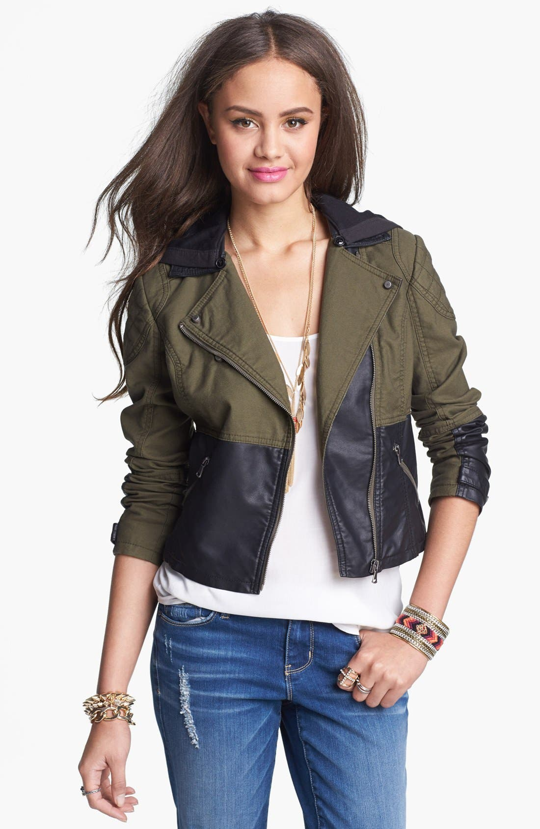Alternate Image 1 Selected - Collection B Faux Leather Panel Hooded Jacket (Juniors)