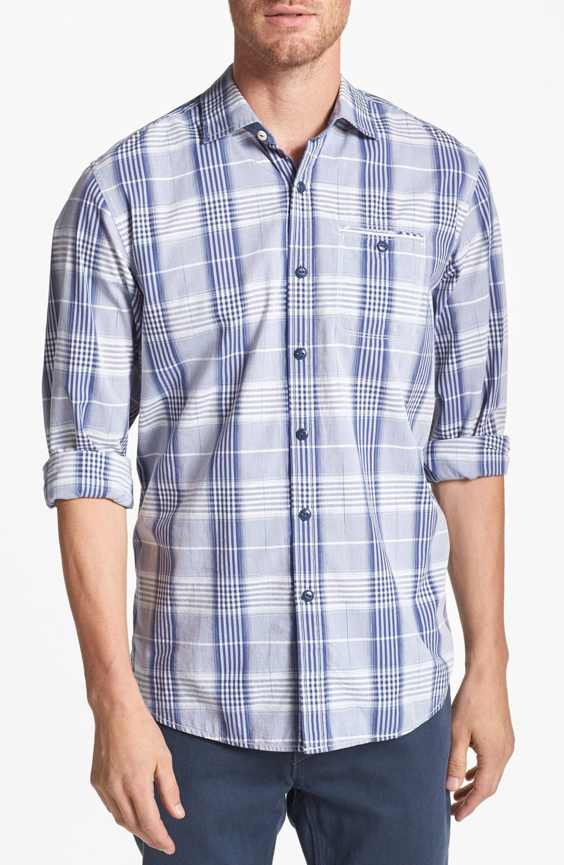 Alternate Image 1 Selected - Tommy Bahama Denim '1 Space and Time' Island Modern Fit Sport Shirt