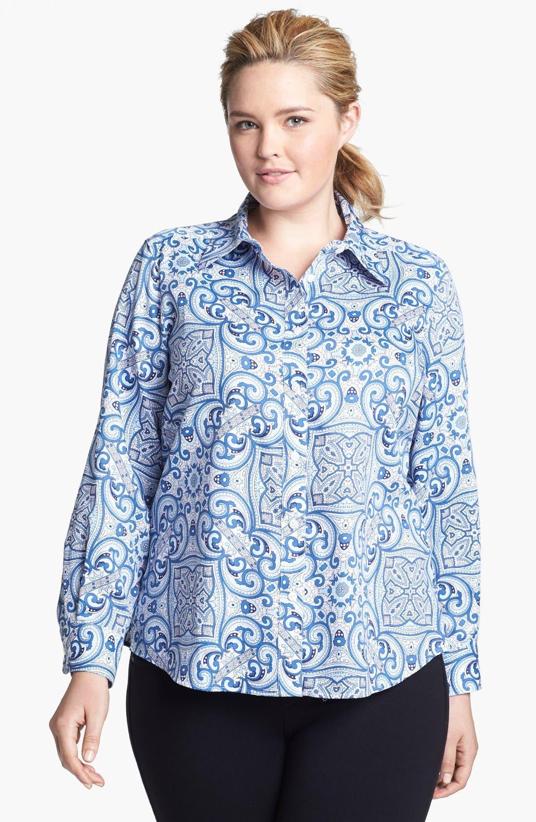 Main Image - Foxcroft Print Shaped Shirt (Plus Size)
