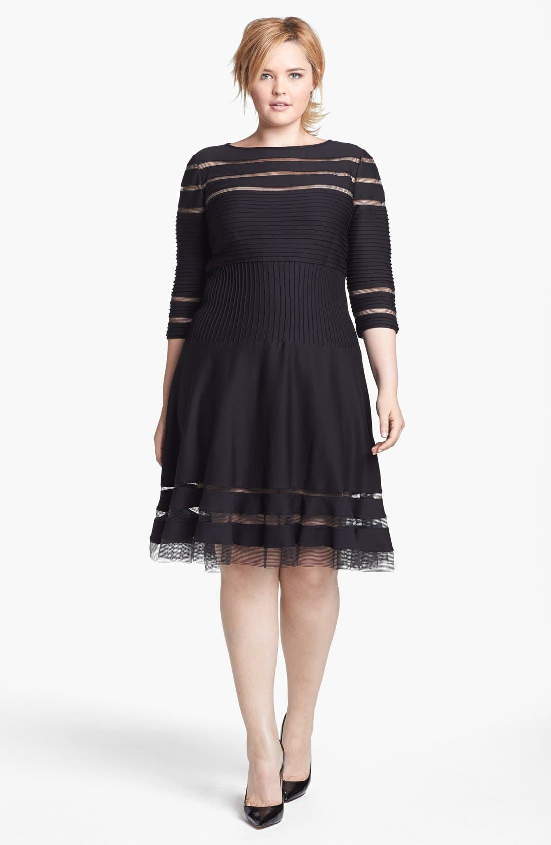 Alternate Image 1 Selected - Tadashi Shoji Mesh Stripe Fit & Flare Dress (Plus Size)