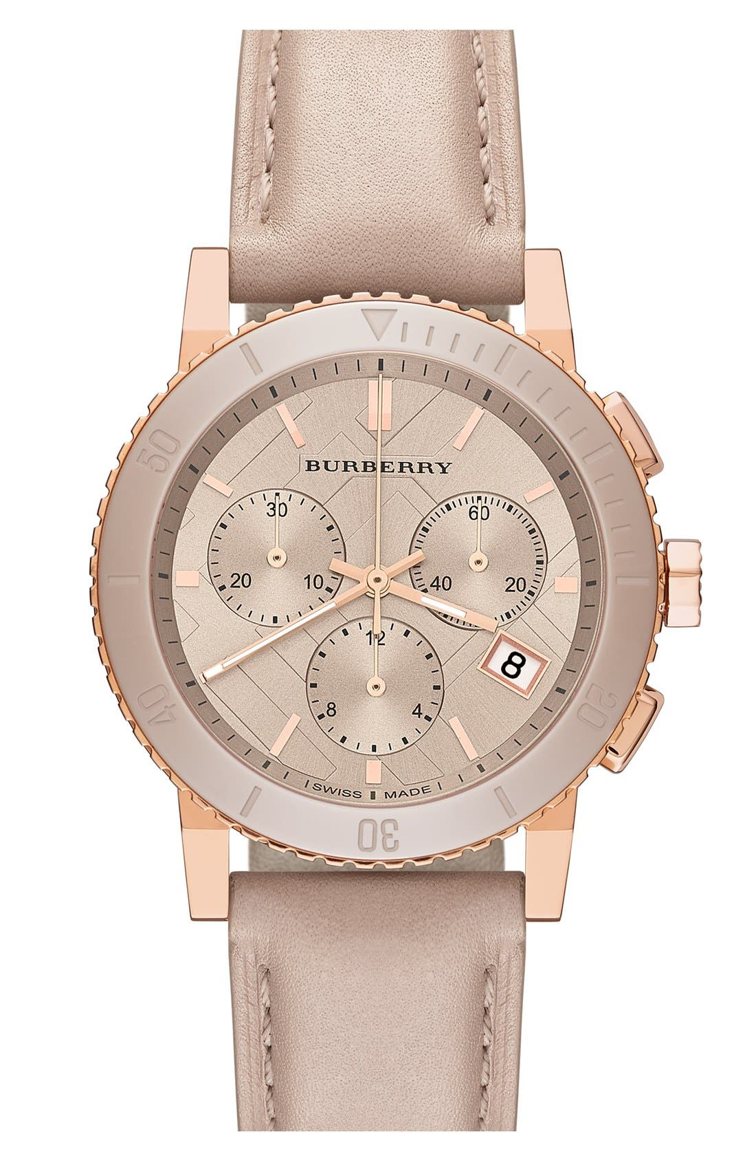 Main Image - Burberry Check Stamped Chronograph Watch, 38mm