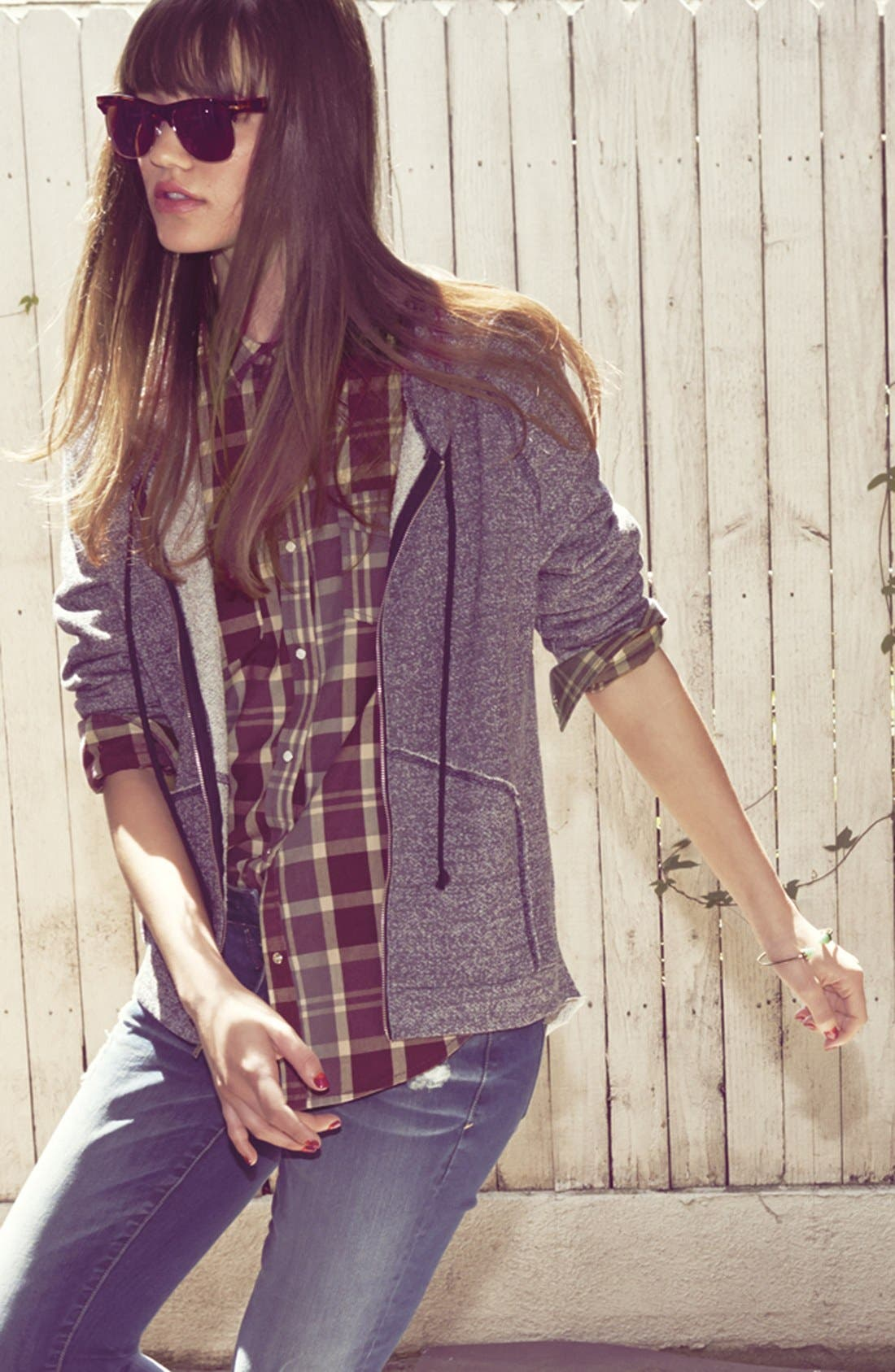 Main Image - Lush Hoodie, Rubbish® Shirt & Jolt Jeans