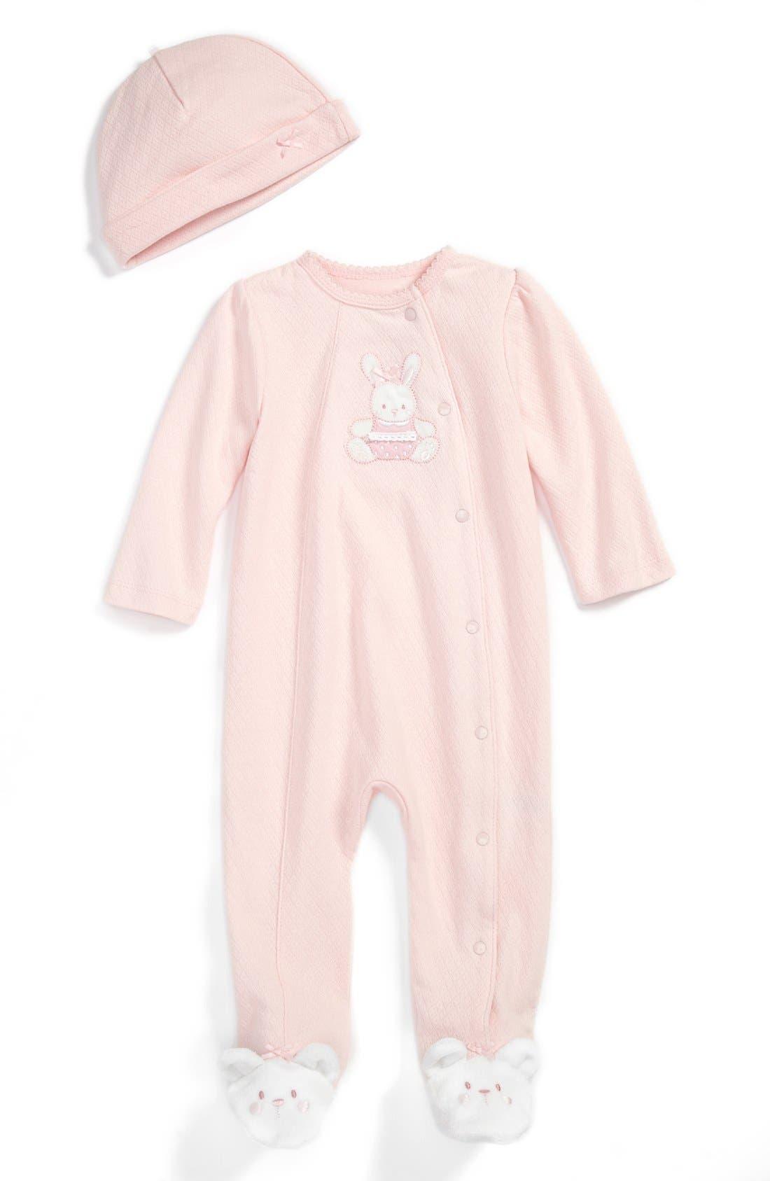 Main Image - Little Me 'Pretty Bunny' Footie & Hat (Baby Girls)