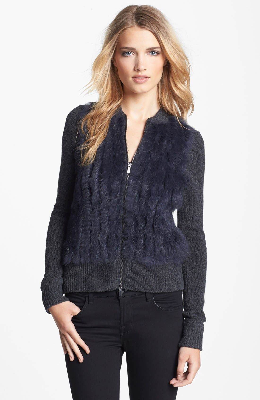 Alternate Image 1 Selected - Diane von Furstenberg 'Cortina' Genuine Rabbit Fur Front Cardigan