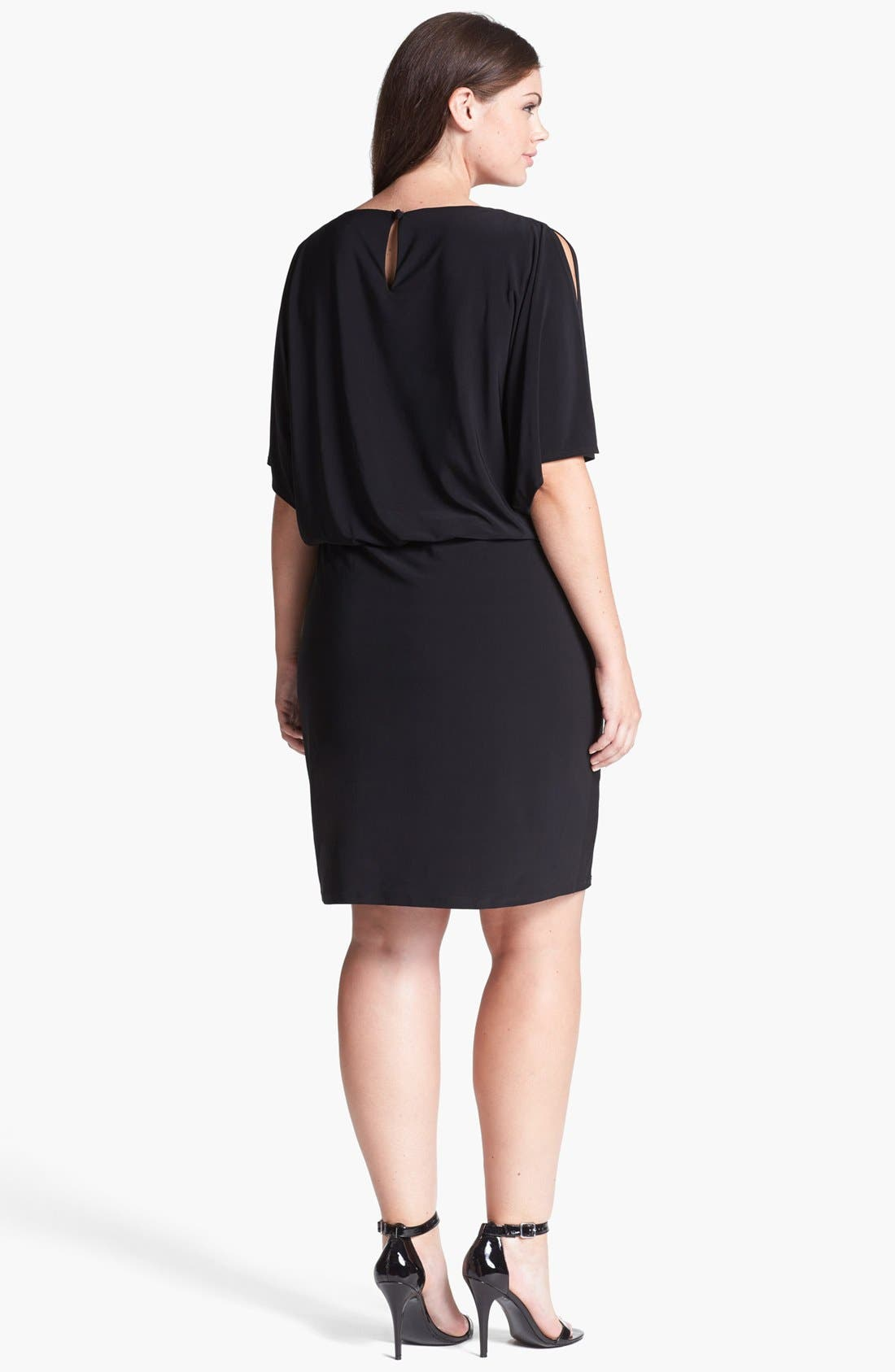 Alternate Image 2  - Xscape Embellished Cold Shoulder Jersey Blouson Dress (Plus Size)