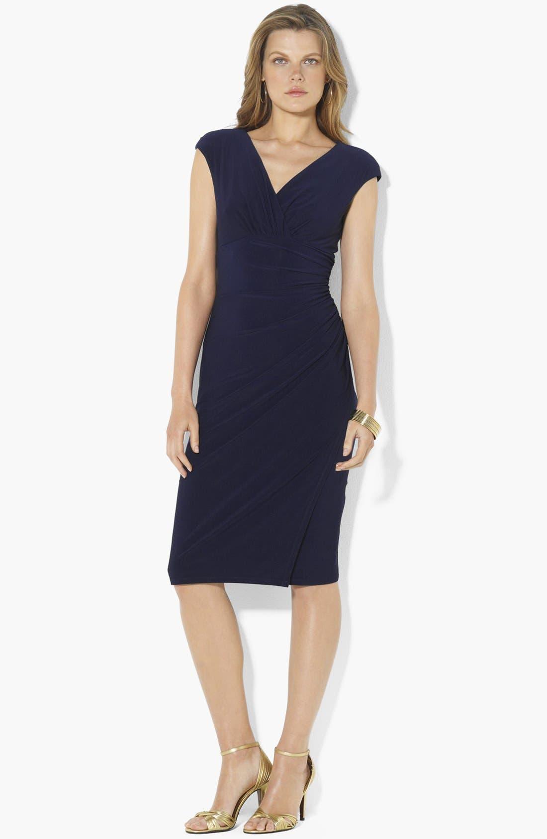 Main Image - Lauren Ralph Lauren Faux Wrap Jersey Dress
