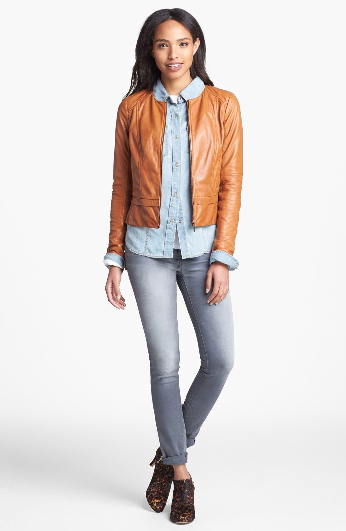 Alternate Image 2  - Halogen® Seamed Leather Jacket