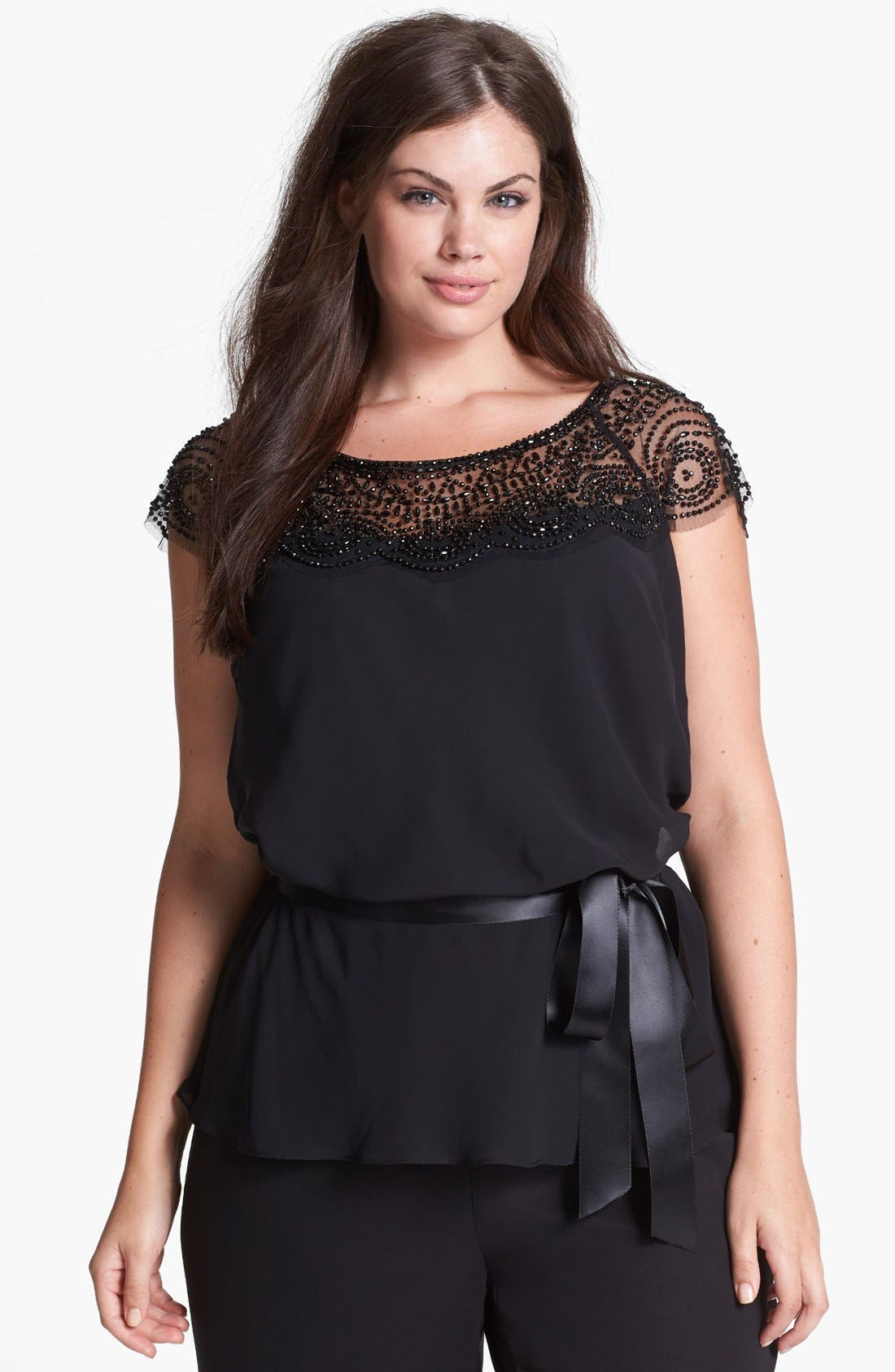 Main Image - Xscape Beaded Yoke Chiffon Top (Plus Size)