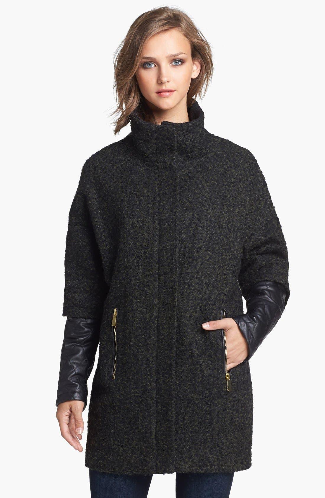 Main Image - Vince Camuto Faux Leather Sleeve Bouclé Tweed Coat