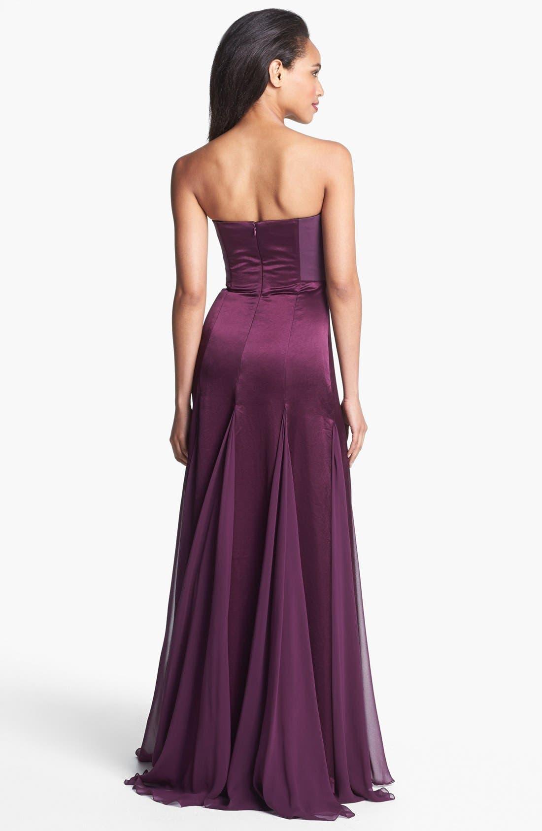 Alternate Image 2  - Halston Heritage Satin & Chiffon Gown