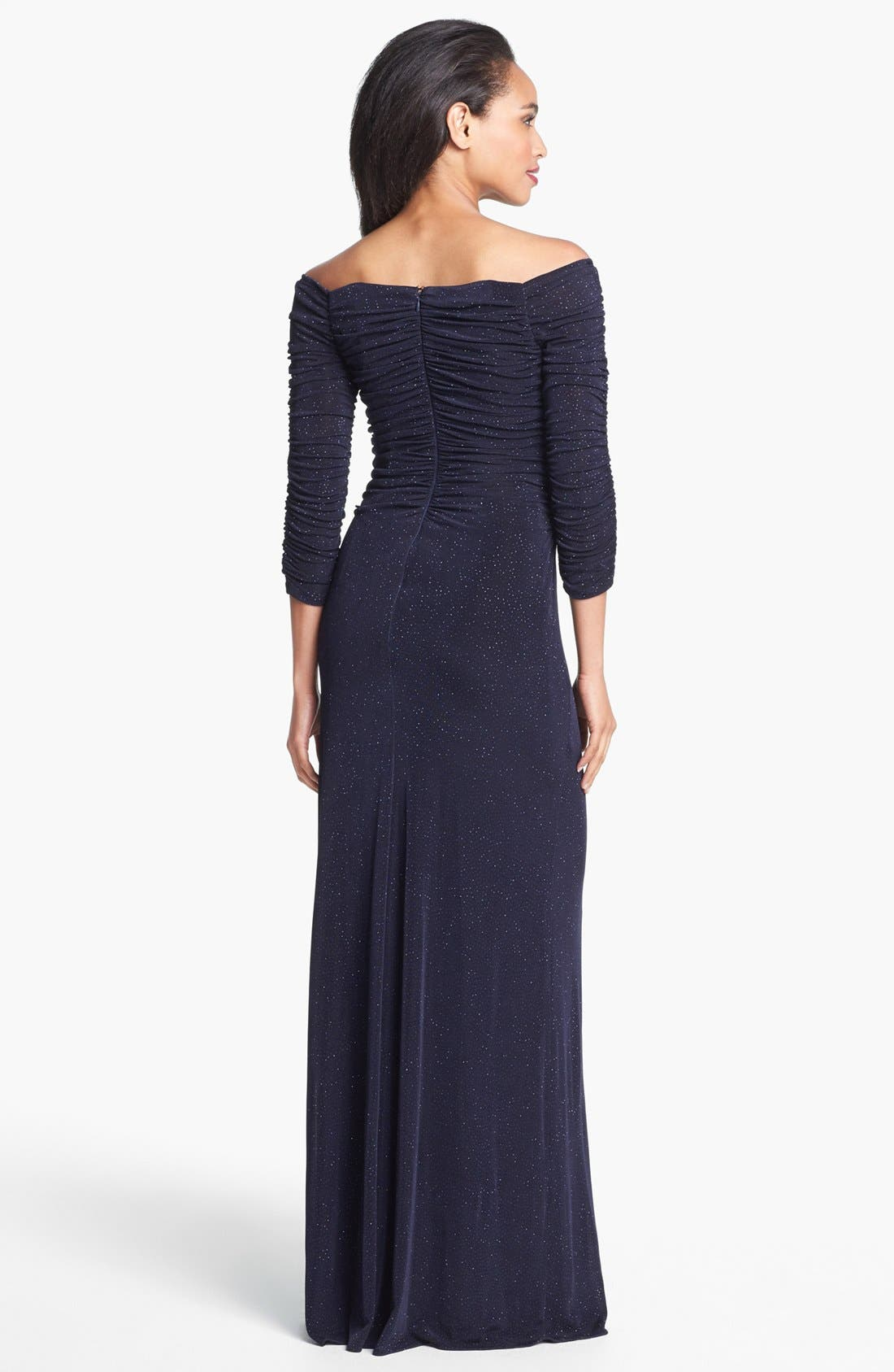Alternate Image 2  - Laundry by Shelli Segal Off Shoulder Glitzy Knit Gown