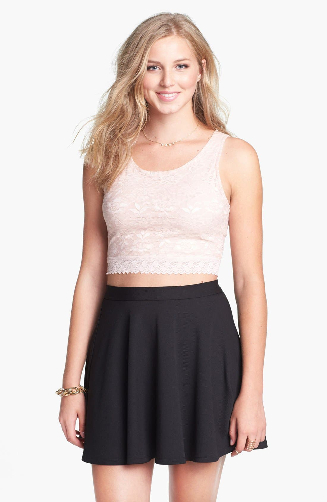 Alternate Image 1 Selected - Frenchi® Lace Crop Tank