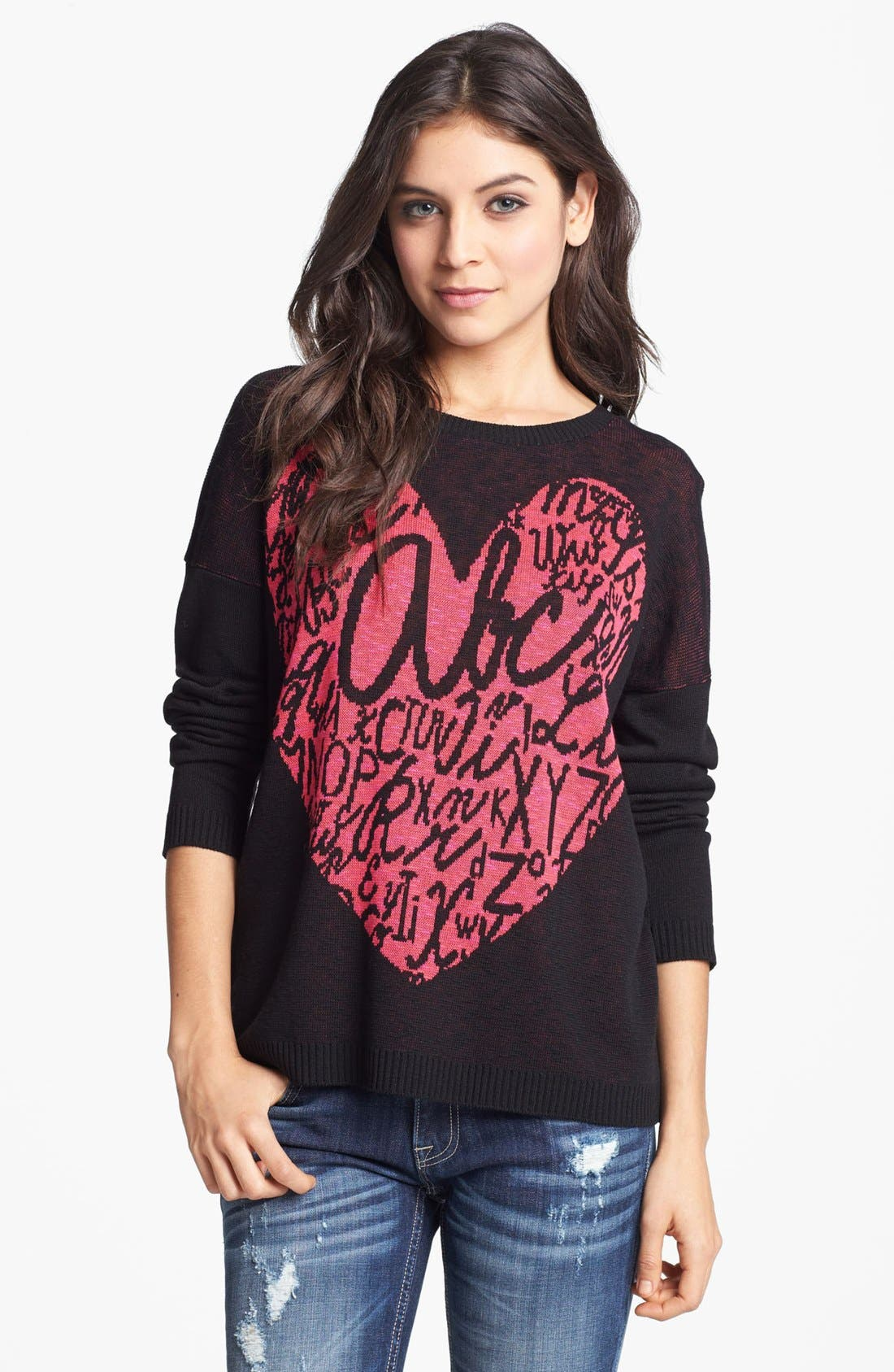 Alternate Image 1 Selected - Truehitt Heart Sweater (Juniors)