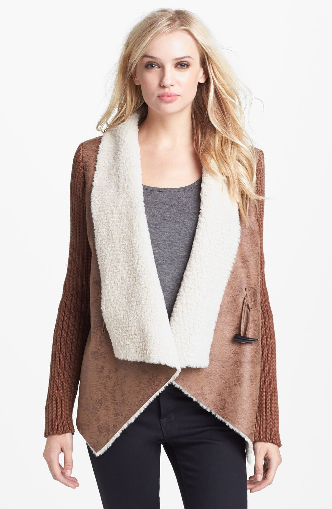 Alternate Image 1  - Sam Edelman Knit Sleeve Faux Shearling Jacket (Online Only)