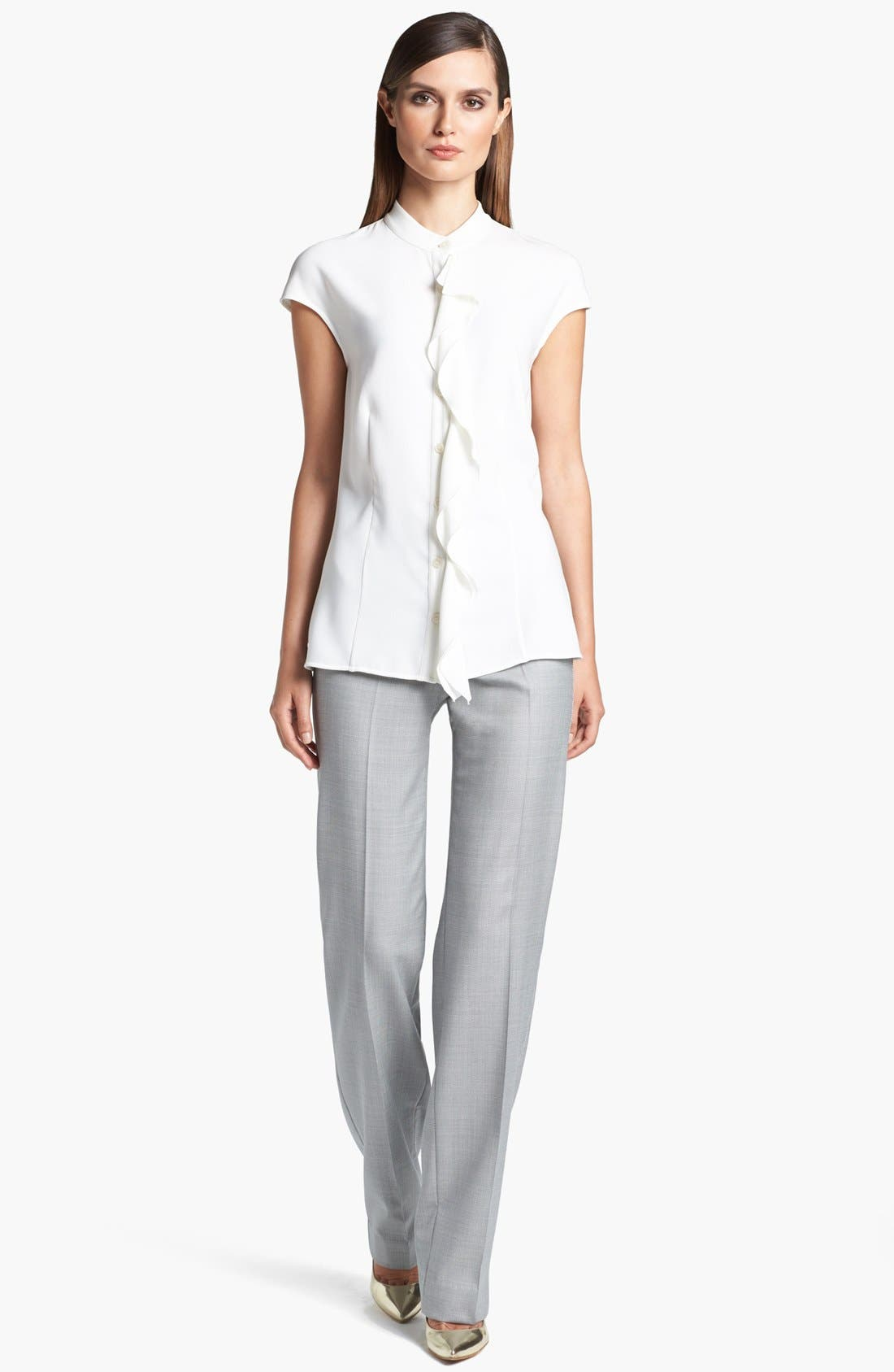 Alternate Image 2  - St. John Collection Double Ruffle Luxe Crepe Blouse