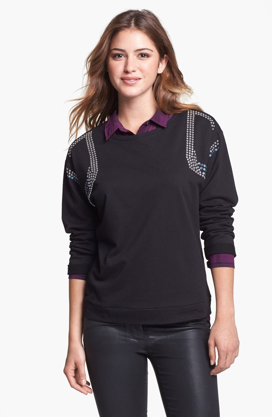 Main Image - Two by Vince Camuto Studded Sweatshirt