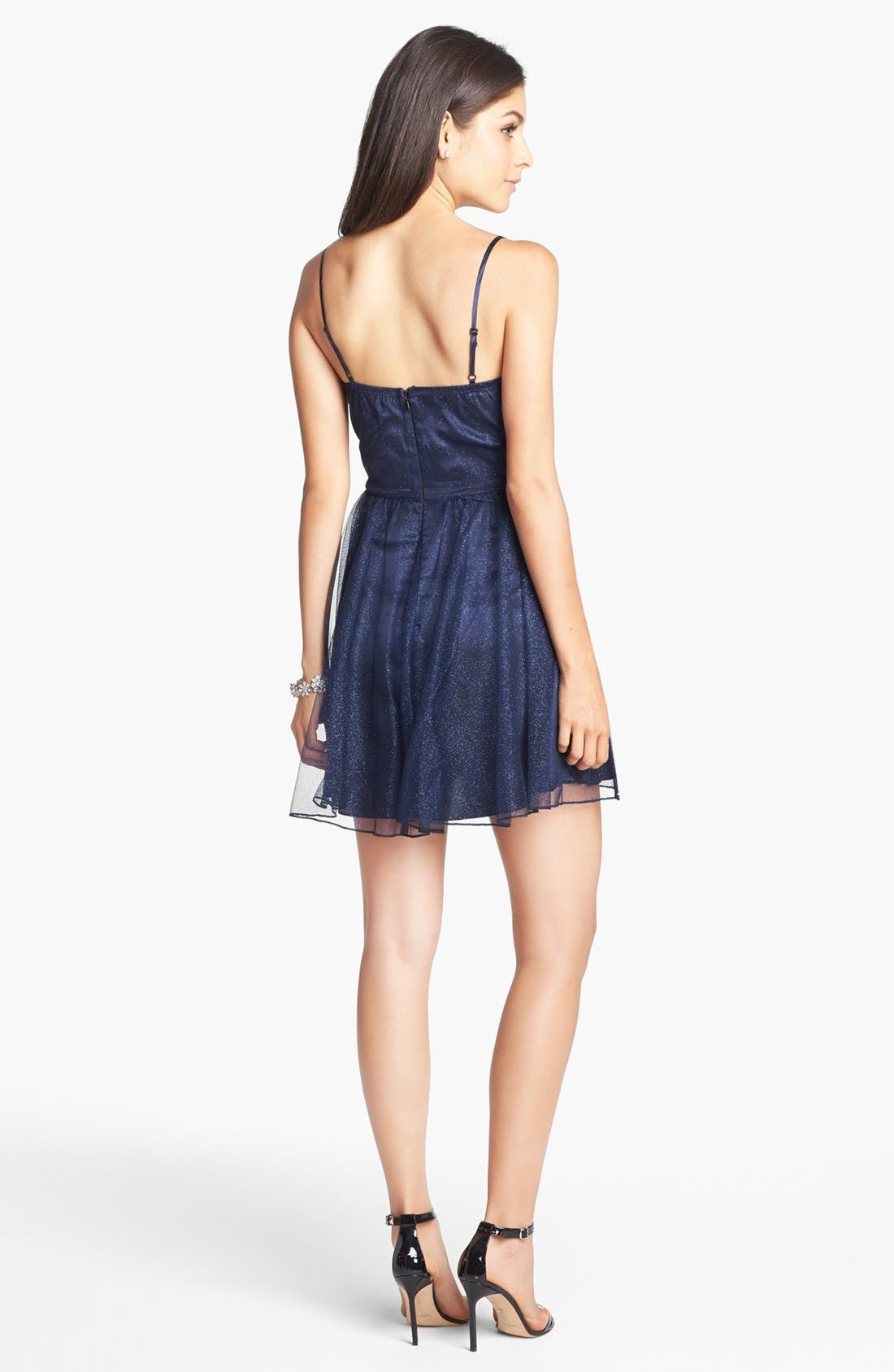 Alternate Image 2  - Trixxi Embellished Mesh Party Dress (Juniors) (Online Only)