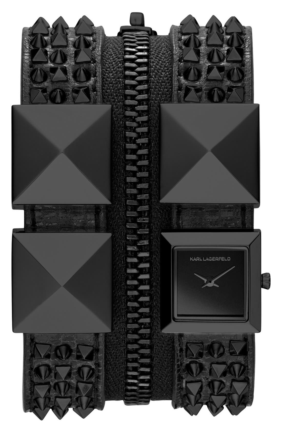 Alternate Image 1 Selected - KARL LAGERFELD Double Strap Cuff Watch