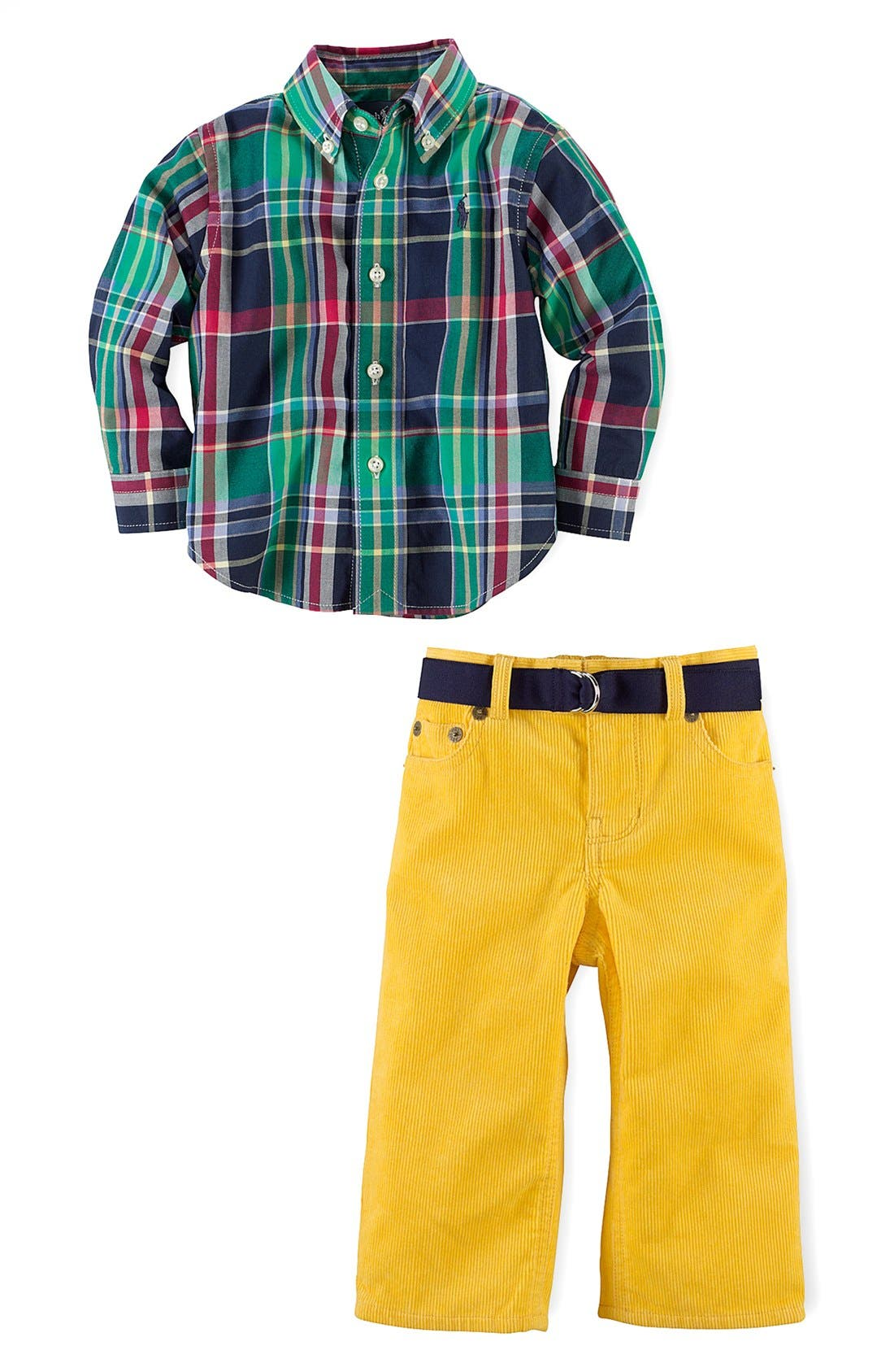 Alternate Image 2  - Ralph Lauren Shirt & Pants (Baby Boys)