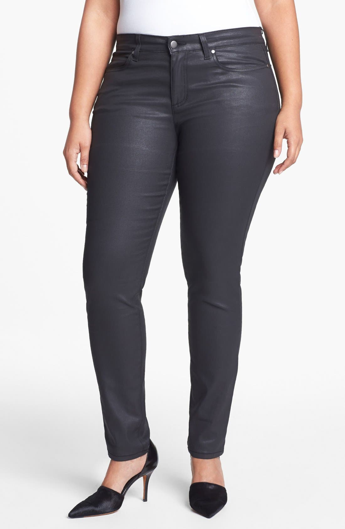 Alternate Image 1 Selected - Eileen Fisher Coated Jeans (Plus Size)