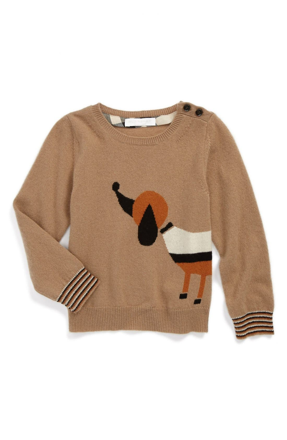 Alternate Image 1 Selected - Burberry Dog Sweater (Toddler Girls)