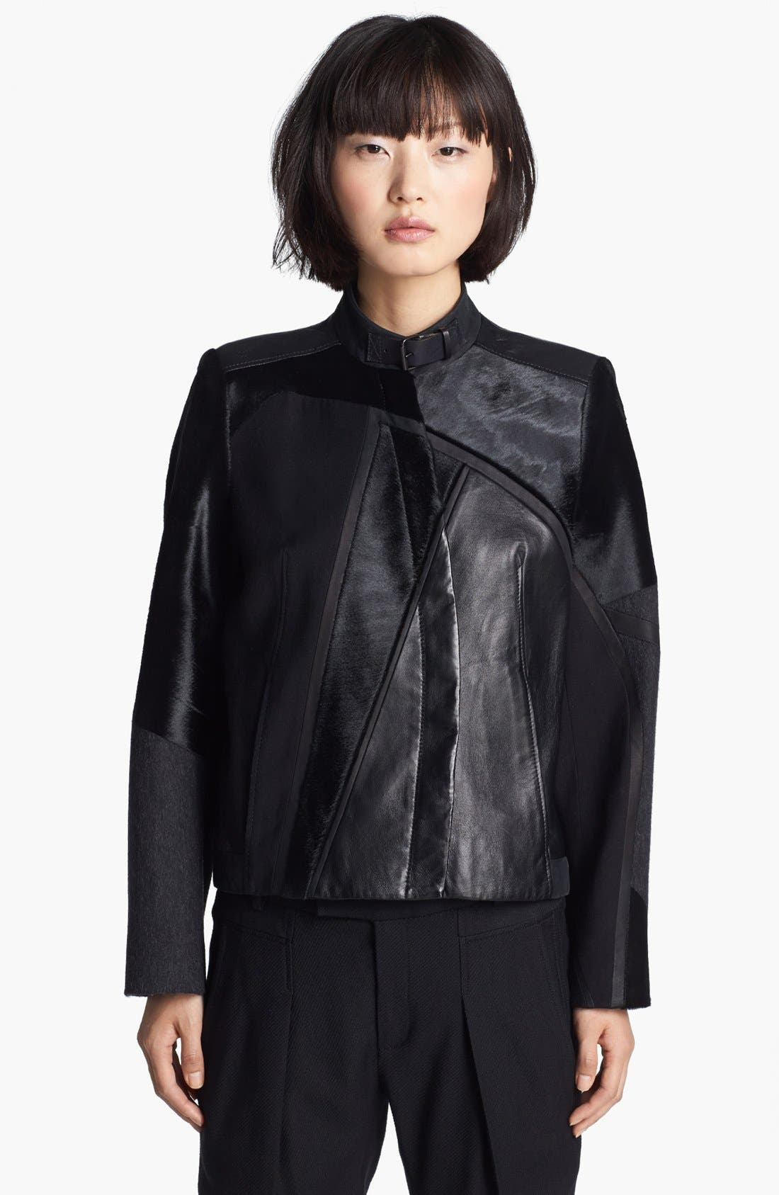Main Image - Helmut Lang Genuine Calf Hair & Leather Jacket