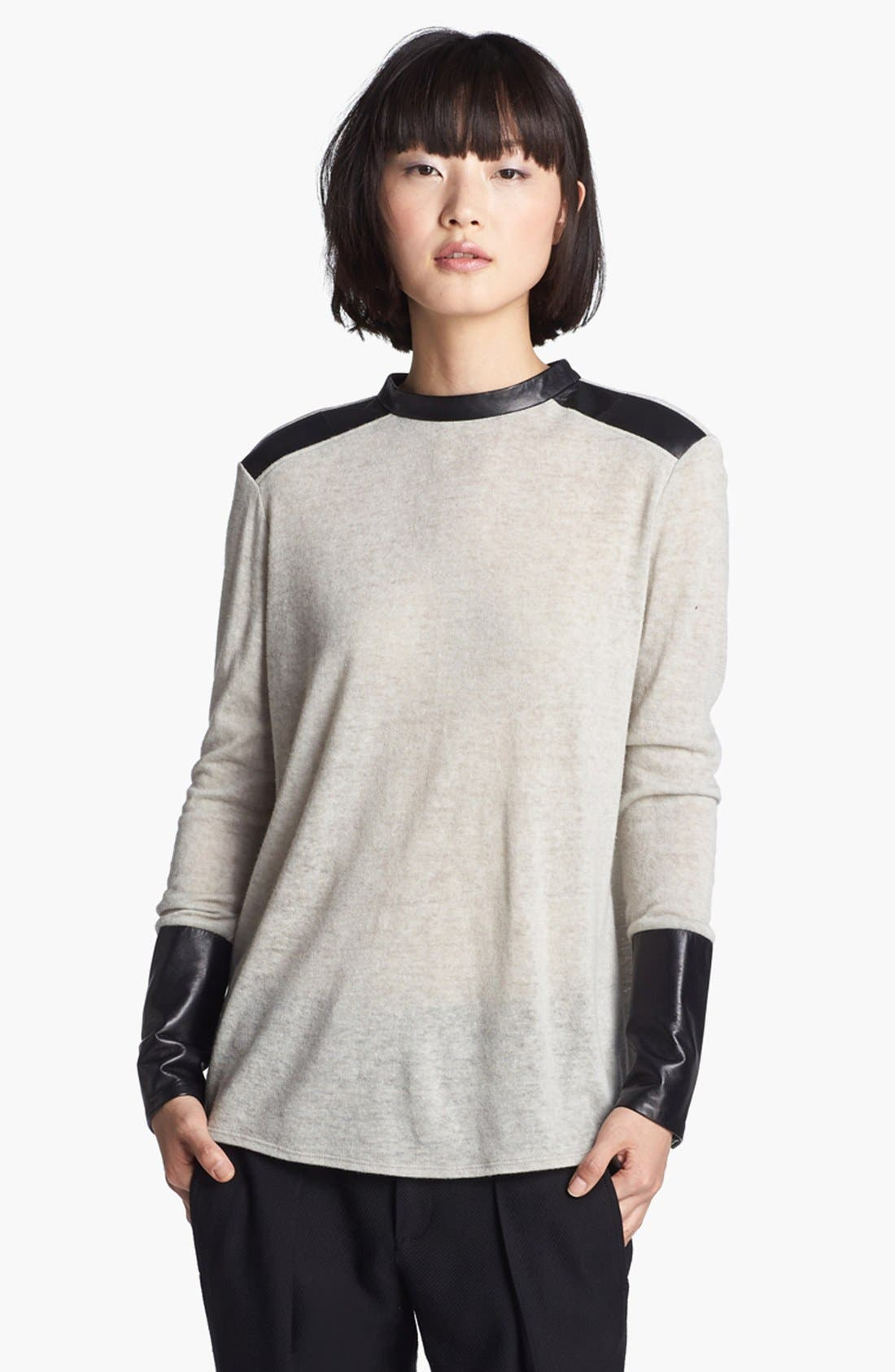 Main Image - Helmut Lang Leather Trim Knit Top